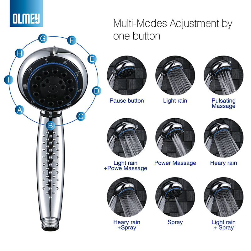 OLMEY 9-Functions High Pressure Adjustable Hand Held Shower Head With Hose For The Ultimate Shower Experience 21003