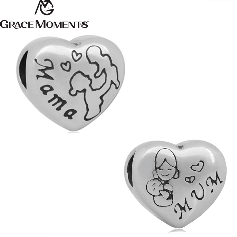 5pcs/Lot Stainless Steel Heart Message Mama Sister Big Holes Spacer Beads Fits European Charm Bracelets For DIY Jewelry Making