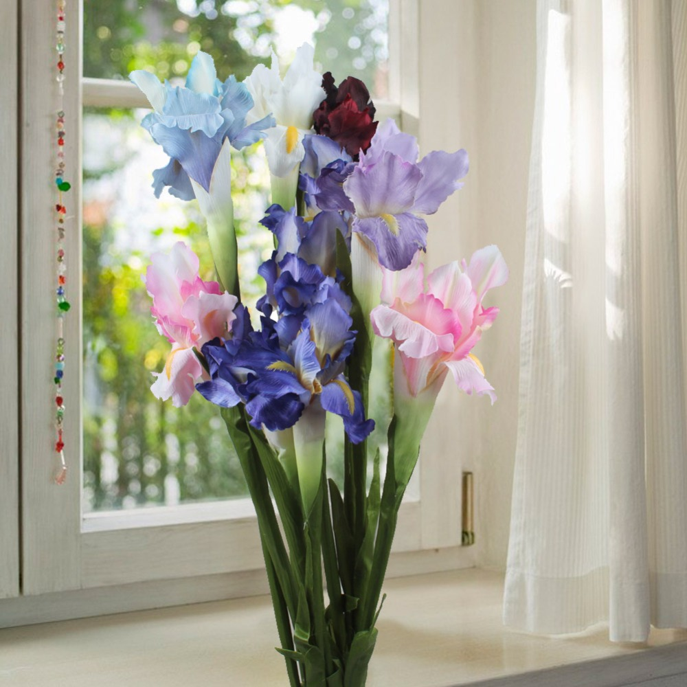 Buy 6pcs silk artificial flower iris for Artificial flowers for wedding decoration