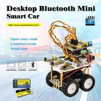 2016 New Keyestudio Desktop Wireless Bluetooth Mini Smart Car Robot Car DIY Kit For Arduino Kit