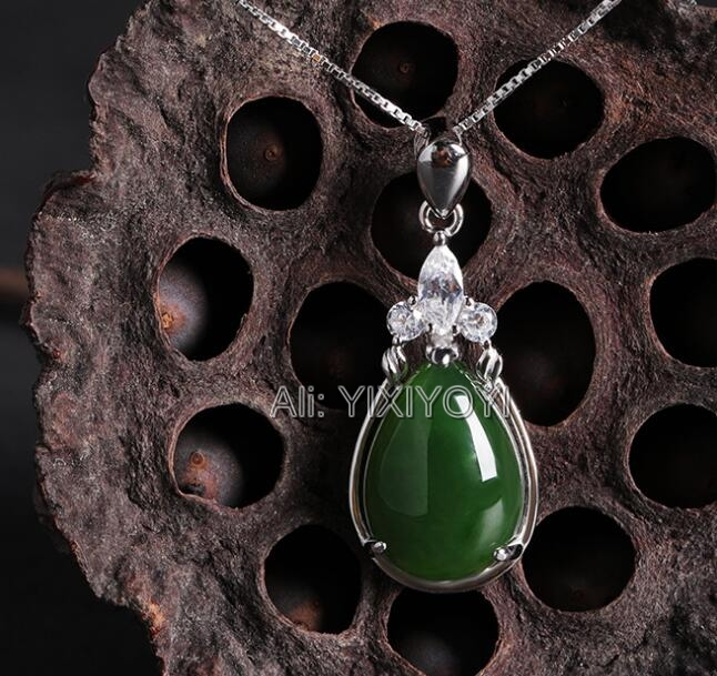 Beautiful 925 Silve Natural Green HeTian Jade Beads Inlay Gem Dropping Lucky Pendant + Chain Necklace Fine Jewelry CertificateBeautiful 925 Silve Natural Green HeTian Jade Beads Inlay Gem Dropping Lucky Pendant + Chain Necklace Fine Jewelry Certificate