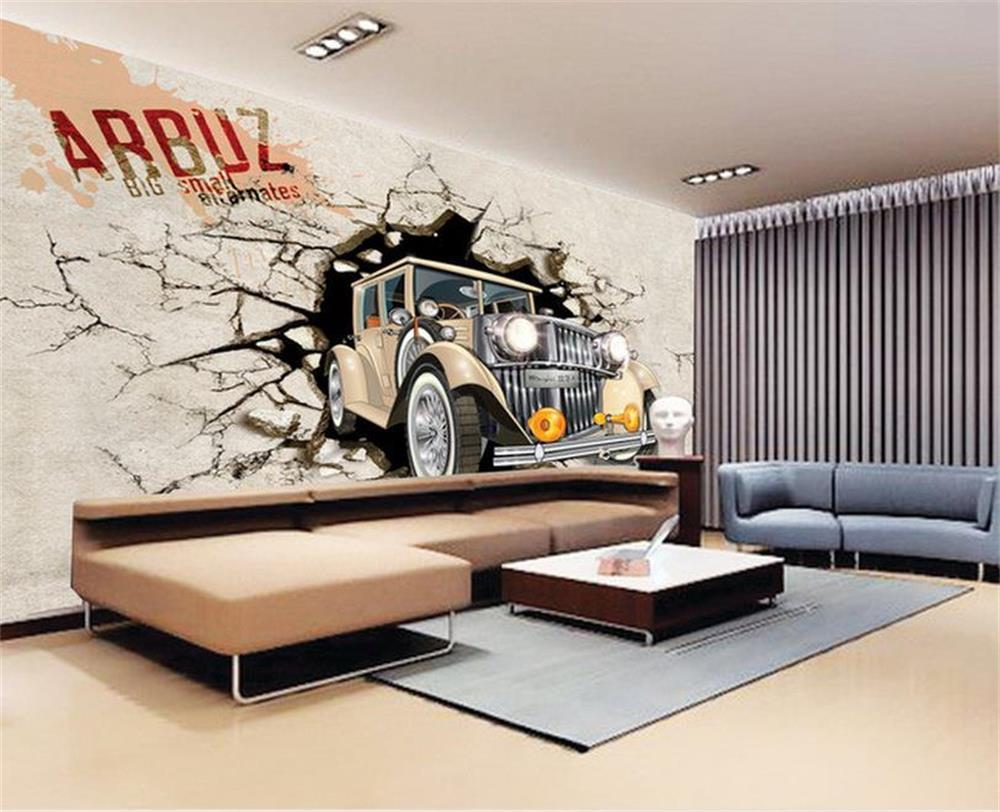 custom 3d photo wallpaper baby kids room mural car break out wall 3d photo sofa tv background wall wallpaper non woven mural
