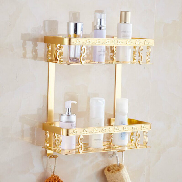 high quality Double aluminum bath shelf hanging shelf golden ...