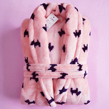 Free shipping Winter flannel women's robe thickening bathrobe male medium-long coral fleece lovers sleepwear lounge