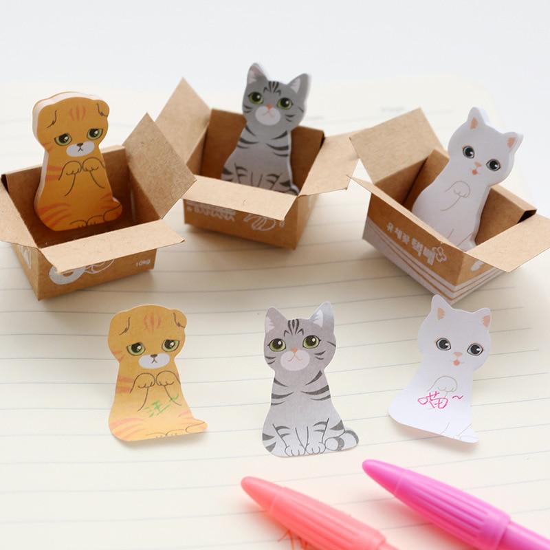 3D Kawaii Кошка Собака коробка милые наклейки из мультфильмов корейский Канцелярские заметки офисные школьные принадлежности блокнот Скрапбу...