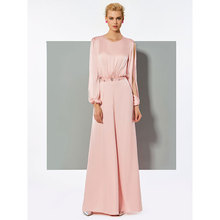 Tanpell A-Line Evening Dress Scoop Neck Long Sleevs Beading Woman Party Gown Button Jumpsuits