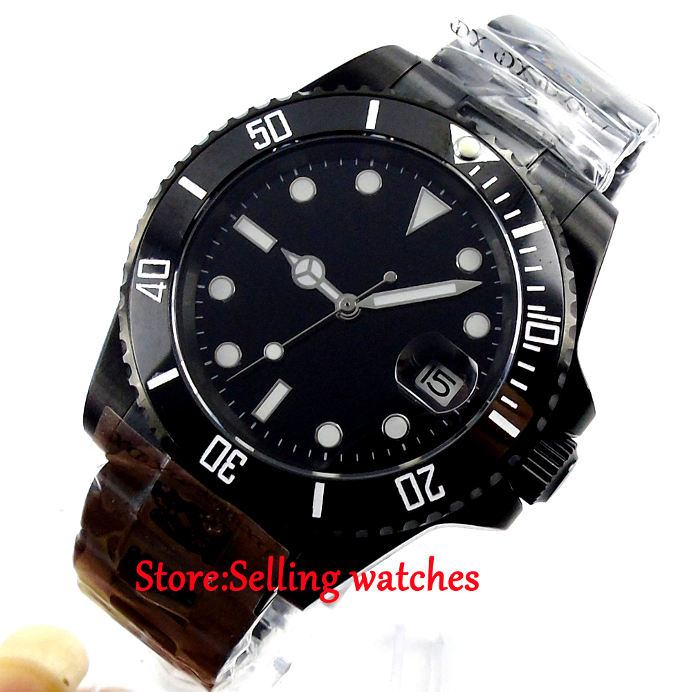 40mm parnis luminous PVD case sapphire glass automatic mens watch40mm parnis luminous PVD case sapphire glass automatic mens watch