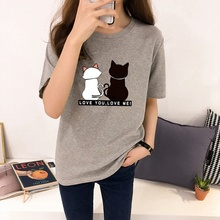Cats Print Women T shirts 2019 Summer Short Sleeve O Neck Tshirt Korean Harajuku Tops Tees Casual Loose T-shirts