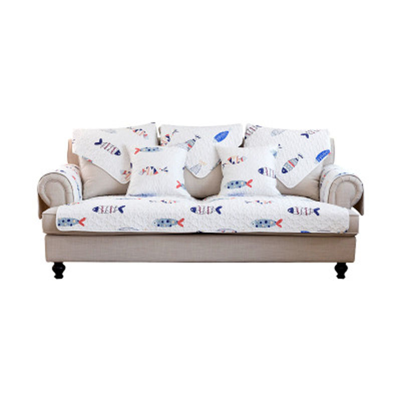 1 Pcs Cute Fish White Sofa Slipcovers Cotton Sectional Cover Fundas De Couch Covers