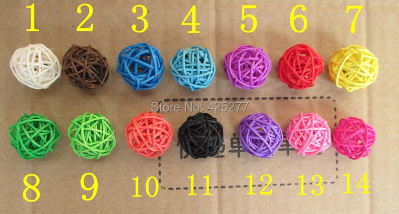 200pcs/bag Christmas tree decorative rattan ball,Wedding and home ornament craft ball 2.5 cm Free shipping 14 colors to choose