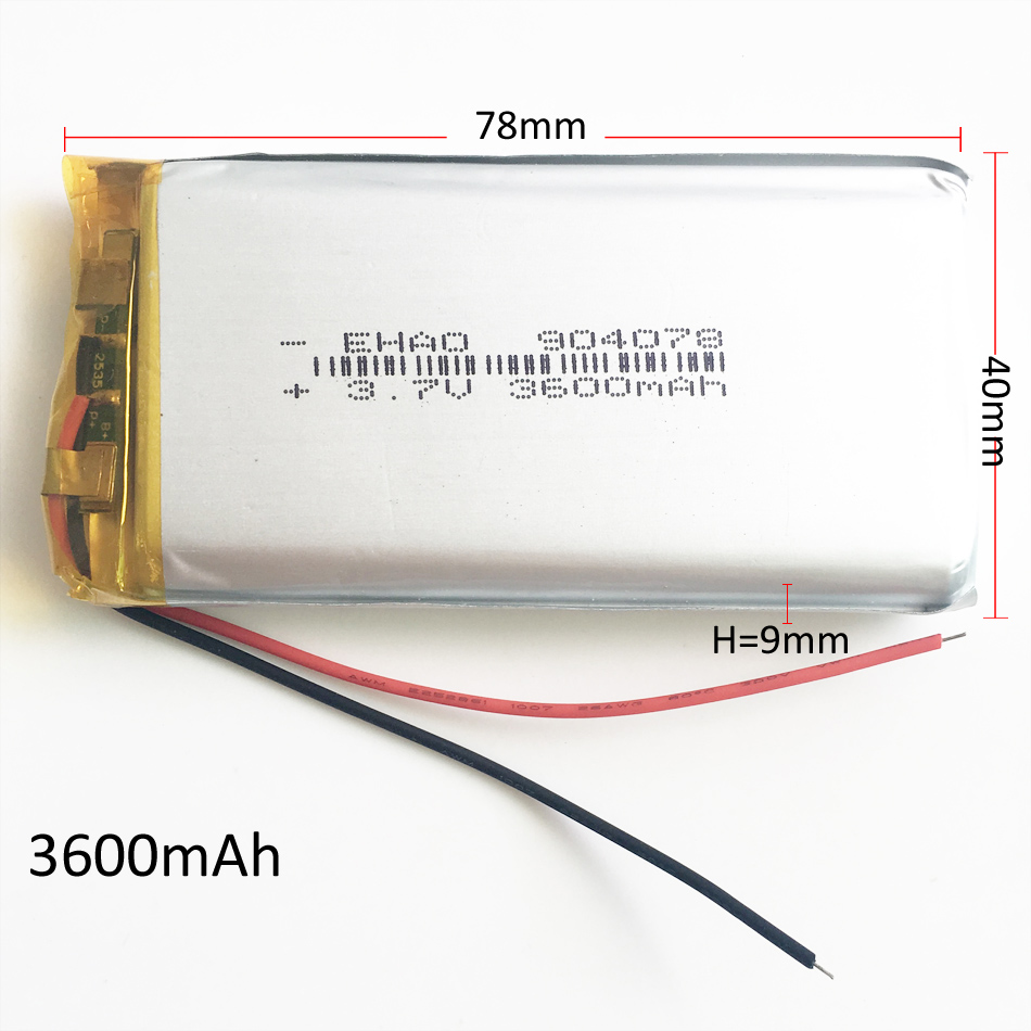 3.7V 3600mAh 904078 Polymer Lithium LiPo Rechargeable Battery For GPS PSP DVD PAD e-book tablet pc Laptop power bank video game image