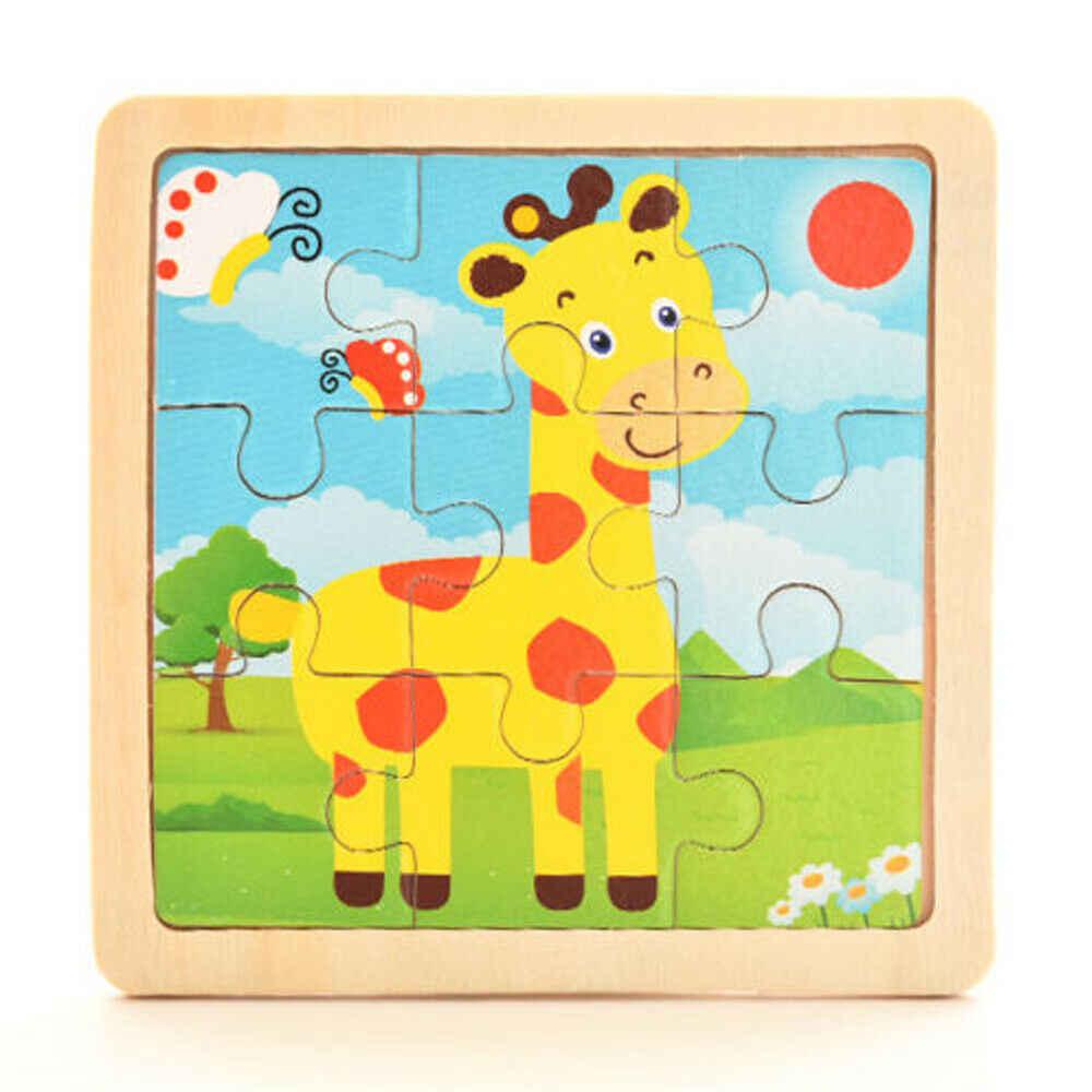 Hot Sale 9 Pcs Kayu Puzzle Bayi Anak-anak Awal Pelajaran Kecerdasan Kartun Hewan Puzzle Mainan Kayu