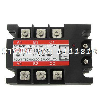 DC-AC 3-32V DC to 480V AC 40A 3 Phase Solid State Relay SSR normally open single phase solid state relay ssr mgr 1 d48120 120a control dc ac 24 480v