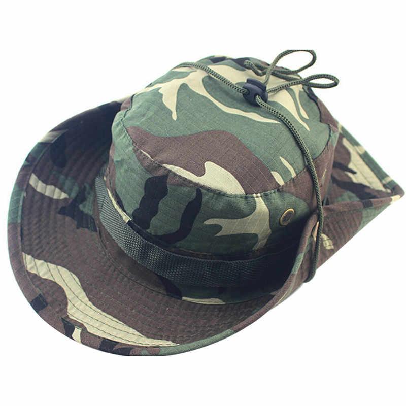 5ca7054411847 Summer Men Women Camouflage Bucket Hat With String Fisherman Cap Military  Panama Safari Boonie Sun Hats