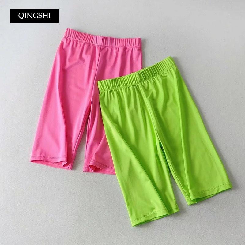 2019 Summer New Women Skinny Biker   Shorts   Elastic High Waist Neon   Shorts   Solid Fitness   Short   Pants Fushia   Shorts   Korean Fashion