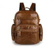 High Quality Classic Vintage Unisex School Bag Genuine Leather Backpacks  2751B