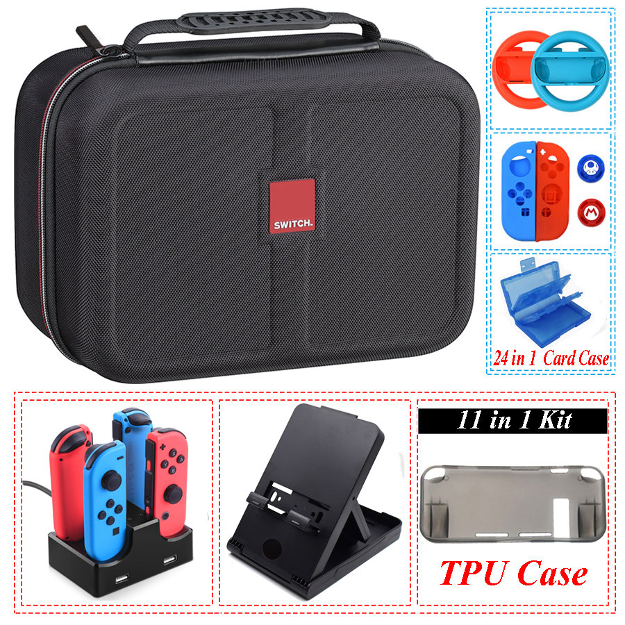 Yoteen 11 In 1 Accessories For Nintendo Switch Storage Bag Joy-con Steering Wheel Handle Grips Silicone Case Caps Charging Dock