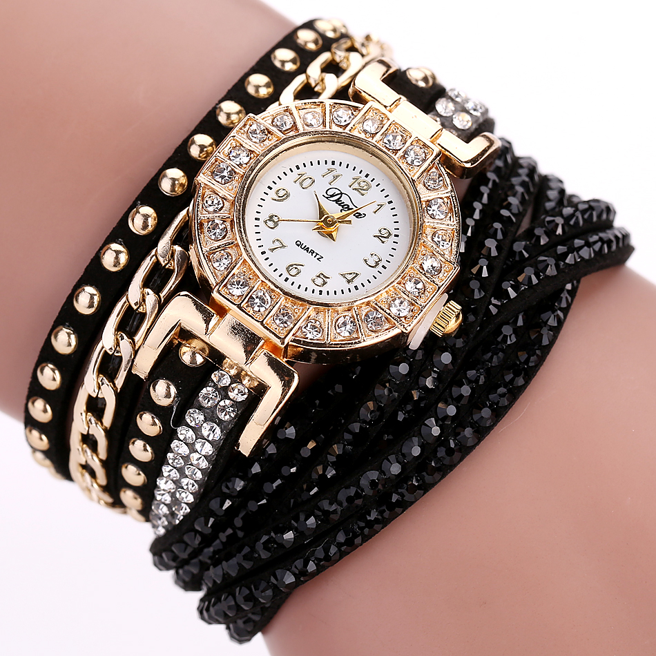 DUOYA Famous Brand 2017 Hot Sale Gold Simulated Diamond Chain Women Bracelet Watch Quartz Wristwatch Women Dress Watches DY001 2016 new hot sale famous bs brand full crytal women silver watch lady luxury diamond dress watch rhinestone bangle bracelet
