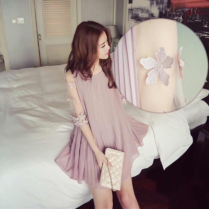 Sexy Floral Gauze Sleeve Pleated Chiffon Maternity Dress Summer Korean Fashion Clothes for Pregnant Women Loose Pregnancy Tops