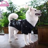 Large Big Dog Pet Luxury Pu Leather Jacket Coats For Dog Autumn Winter Eagle Golden Retriever