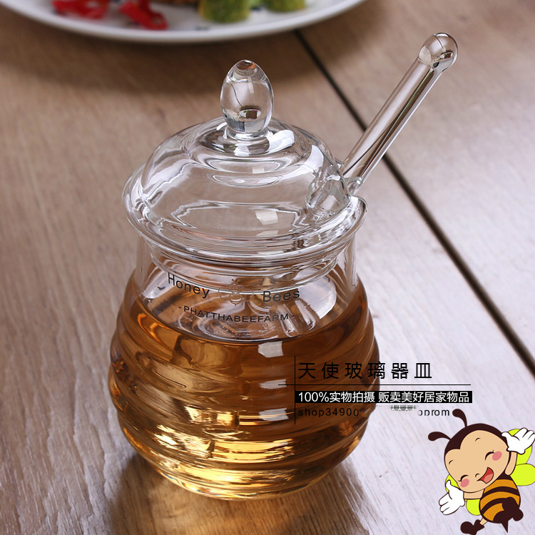High grade honey jar crystal glass seasoning bottle glass stirring admission 290ML