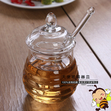 High-grade honey jar crystal glass seasoning bottle glass stirring admission 290ML