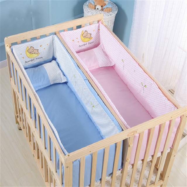 Multifunction Pine Twins Baby Cribs No painted Children ...