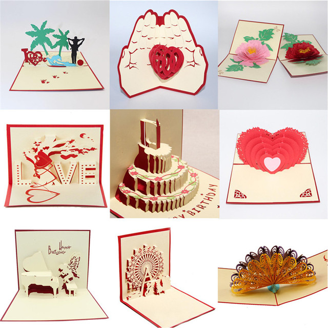 3D Pop Up Cake Gift Cards Valentine Lover Happy Birthday Anniversary