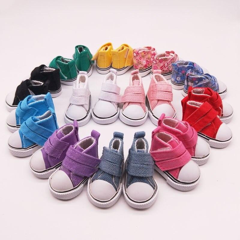 5Pairs/Lot Hot Sale BJD Doll Shoes 5CM Canvas Shoes For Dolls