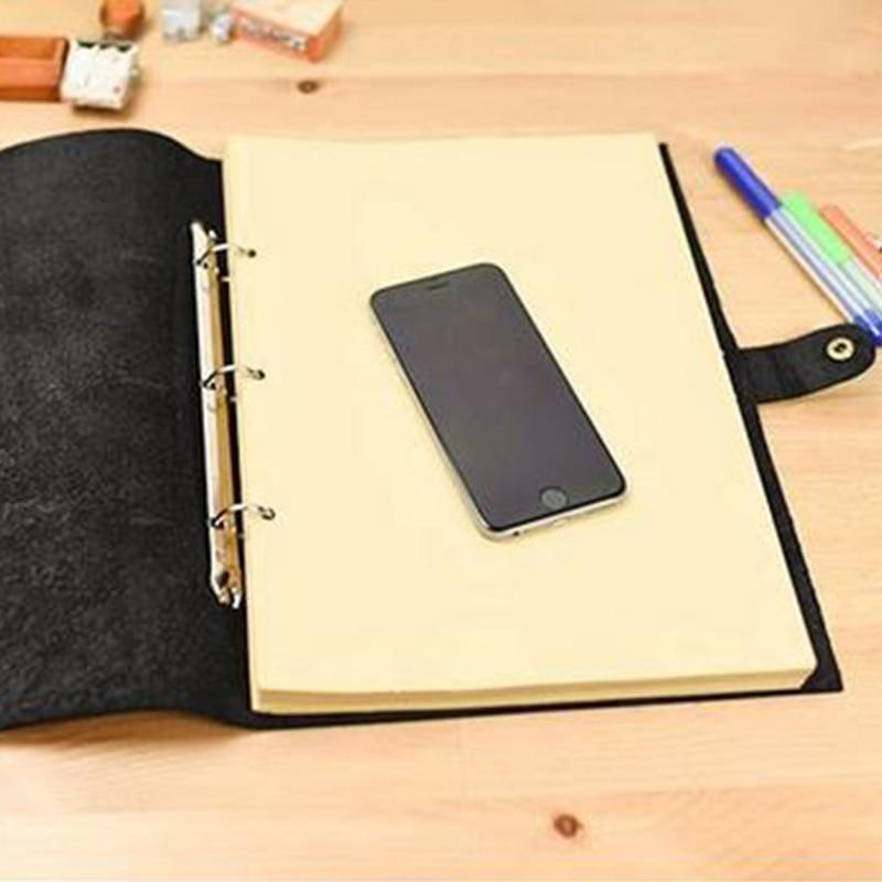 A4 Storlek äkta svart läderfodral Tidskriftsnotebook ren handgjord - Block och anteckningsböcker - Foto 2
