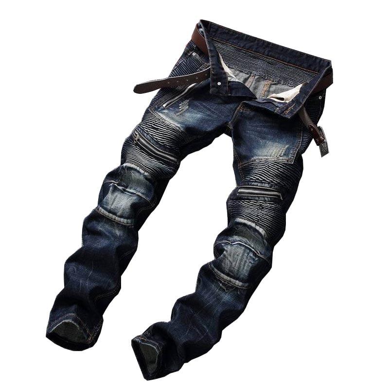 Mcikkny Fashion Men's Hi-street Pleated Biker   Jeans   Pants Washed Straight Motorcycle Denim Trousers Brand Designer Multi-pockets