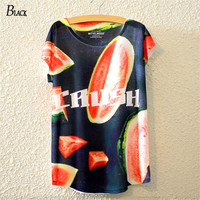 BLACK Brand Summer Style Classy Fashion Girl Watermelon Print T Shirt Cute Bat Sleeve Tees Women