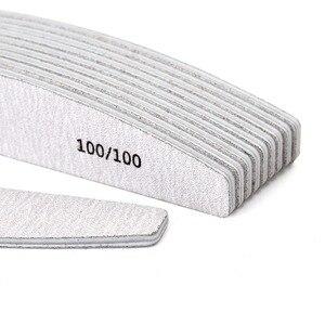 Image 2 - Makartt 100 adet/paket Zebra Tırnak Dosyaları Yıkanabilir Çift Taraflı Zımpara Kurulu 150/150, 100/100 Grit Yarım ay Tırnak Tamponlama Dosyaları