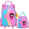 Модный рюкзак принцессы на колесиках  6 колес  школьные сумки на колесиках для девочек  детские съемные дорожные сумки  школьные рюкзаки