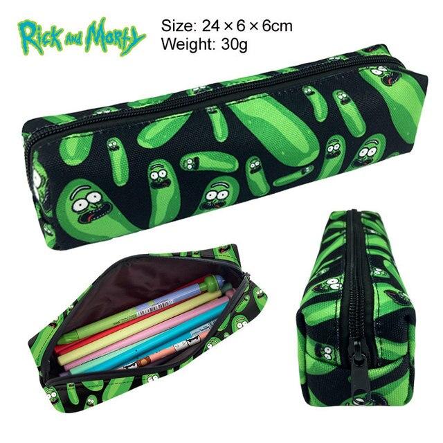 Bolsa de maquillaje Unisex bolsa de almacenamiento de pikachu bolsos de mano Rick y Morty Pickle Rick caja de lápiz con cremallera caja de cosméticos regalo