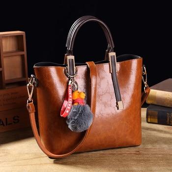 87deeb689532 Винтажная кожаная сумка на плечо с воском для женщин, модная женская сумка,  брендовые роскошные сумки, дизайнерские сумки Bolsa das senhoras, женски.