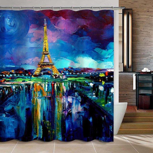 CHARMHOME Oil Painting Paris Eiffel Tower Waterproof Shower Curtain Blue And Purple Polyester Fabric Bath