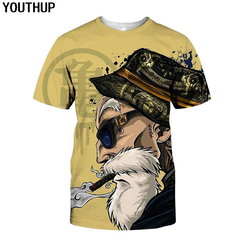 YOUTHUP 2018 verano Camisetas hombres Anime impresión Dragon Ball 3D camiseta Oogway camisetas Master Roshi hombres camiseta Streetwear talla grande