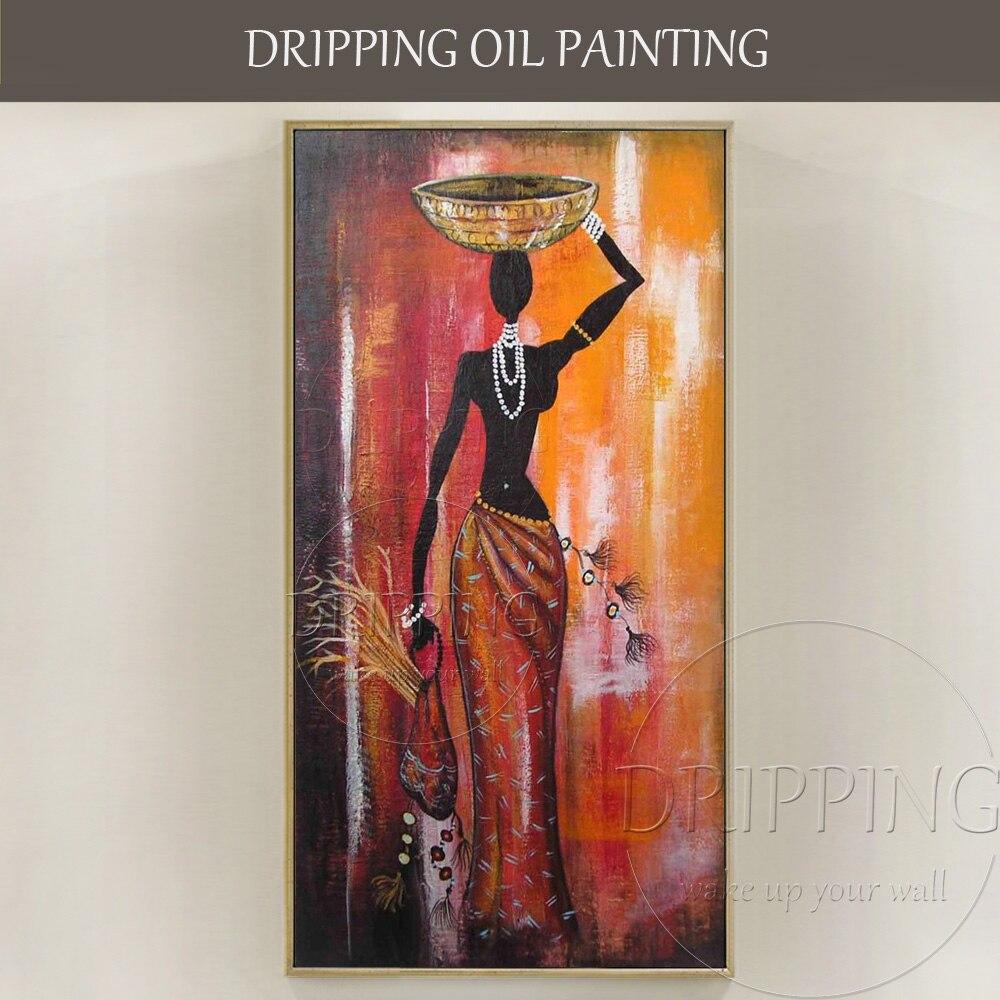 Classique Mur Art Décor Peinture À La Main de Haute Qualité Toile Femme Africaine Peinture À L'huile sur Toile Femme Africaine Photos