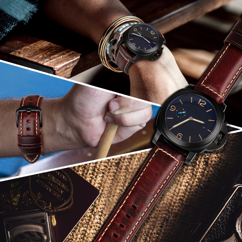 Image 5 - MAIKES Watch accessories fashion red watchband 20mm 22mm 24mm 26mm leather watch strap black buckle watch band for Paneraiwatch bandred watchbandwatchband 22mm -