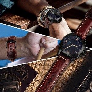 Image 5 - Maikes 시계 액세서리 패션 레드 시계 밴드 20mm 22mm 24mm 26mm 가죽 시계 스트랩 블랙 버클 시계 밴드 panerai 들어