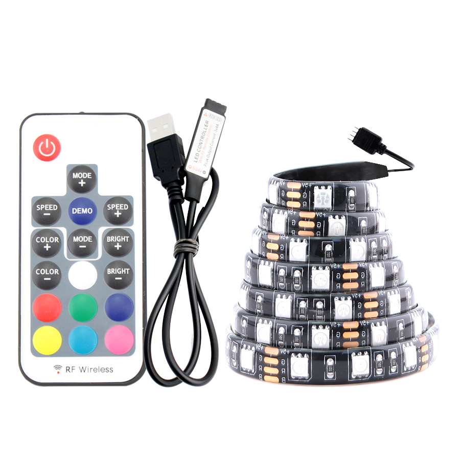 USB Strip LED Light 5V PC RGB 5050 1M 60Led/M 3 Mini 17 Key Controller USB RGB Led Strip TV Backlight Waterproof Tape Diode Lamp