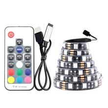 USB Strip LED Light PC 5 V RGB 5050 5V 1M 60Led/M USB 3 Mini 17 Key Controller Led Strip Waterproof Tape Diode Lamp TV Backlight 1m 2m 3m rgb led strip for computer case sata interface 17 key rf remote controller smd 3535 2835 5050 led diode tape 60 leds m