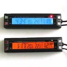 12 فولت 24 فولت سيارة ميزان الحرارة LCD الرقمية داخلي مركبة في الهواء الطلق الجهد رصد ساعة سيارة مقياس الحرارة الفولتميتر كابل الاستشعار