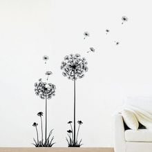 Fashion DIY Creative Dandelion Wall Art Decal Sticker Removable Mural PVC  Home Decor (Color: Black) Part 33