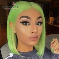 Preferred 13x6 Straight Lace Front Wig Pink/Blue/Green/Yellow Colored Human Hair Wigs Brazilian Short Bob Wigs For Black Women