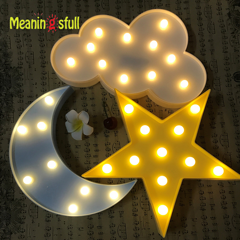Cute Marquee LED Night Light Bedroom Romantic Table Lamp Home Decor Wall Lamp