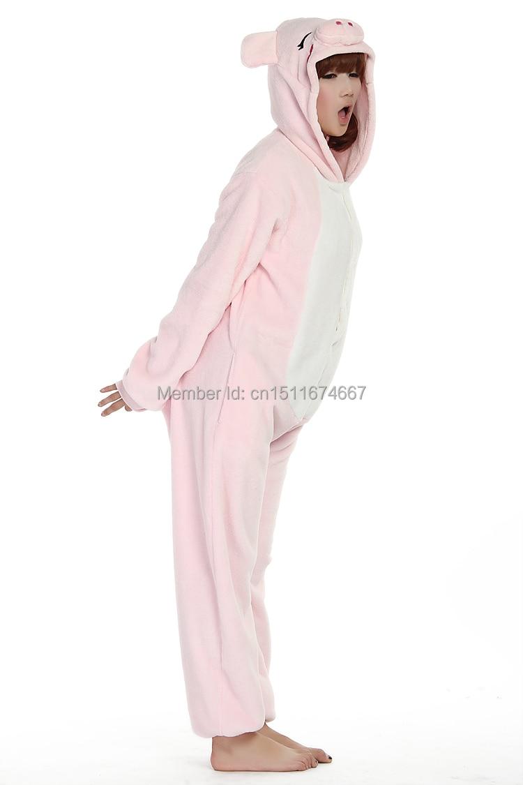 Dikke zachte flanel anime kostuum roze varken onesie pyjama halloween - Carnavalskostuums - Foto 5