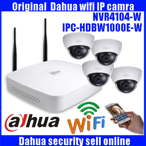 Free Shipping Dahua 4CH NVR Wireless CCTV System  720P HD H.264 IR Outdoor Security IP Camera WIFI Surveillance Kit 8ch nvr kit 720p 3 6mm waterproof outdoor onvif ir ip camera 1 0mp and 8ch 1080p 720p nvr for cctv security system free shipping