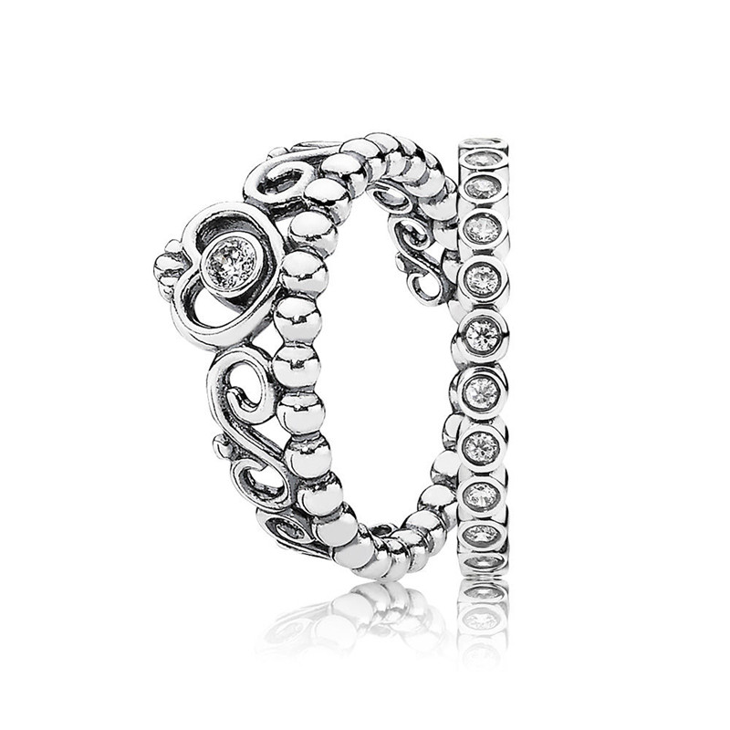 Trendy 100% Real 925 Sterling Silver Alluring Princess Ring Stack For Women Wedding Engagement Party Gift Fine Pandora Jewelry